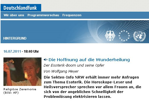 Deutschlandradio berichtet über die Gefahren der Chiemgau-Esoterik