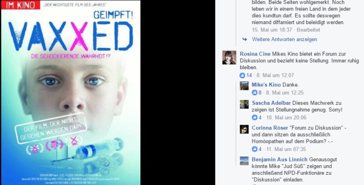 vaxxed Mikes Kino Facebook-Ausschnitt